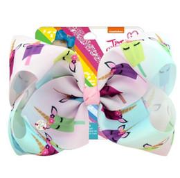 $enCountryForm.capitalKeyWord NZ - Jojo Siwa 8 inch Hari Bow Gradient Unicorn Bow Card Paper Graffiti Hair Ornament Bubble Hair Clip Child Hair Accessories