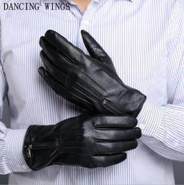 $enCountryForm.capitalKeyWord Australia - New winter warm Men's sheepskin leather gloves fashion metal zipper black genuine leather Driving Gloves Male