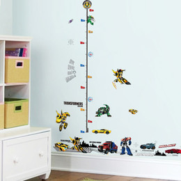 Baseboard Stickers NZ - % Kids Height Chart Wall Sticker home Decor 3D Cartoon car Transformers Baseboard kids room bedroom Decals Art Sticker wallpaper