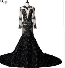 real black roses UK - SoAyle Mermaid Long Sleeves Black Lace Rose Real Photo Evening Dresses Open Back Tulle Sexy Vestidos De Festa Robe De Soiree