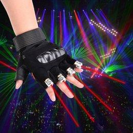 Großhandel Freie Verschiffen-Grün-rote Laser-Handschuhe mit 4pcs 532nm 80mW Laser, LED-Stadiums-Handschuh-leuchtende Handschuhe für DJ-Verein tanzen Partei-Showdekoration