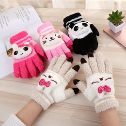 cute mittens NZ - Female Winter Warm Cute Cartoon Panda Cat Rabbit Knit Gloves Girl Women Fashion Coral Fleece Full Finger Mittens Gloves A68 S1025