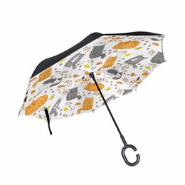 476c4d3bcda6a C-Hook Reverse Umbrella Smiling Cats Windproof Double Layer Long Shank  Inverted Creative Customized Rain Protection Travel Size