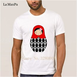 Personalized Dolls Australia - personalized Casual t shirt men red matryoshka doll with anchors t-shirt for men Spring Novelty men's tshirt homme High quality
