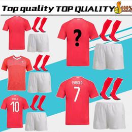 b67cc310a men kit + sock 2018 World Cup Home Soccer Jersey 2018 Switzerland red EMBOLO  XHAKA RODRIGUEZ SHAQIRI ZAKARIA Football Shirt