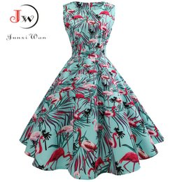cdc3c5107ae Summer Dress Women 2018 50s 60s Rockabilly Vintage Dress A-Line Party  Dresses With Belt Robe femme Casual Plus Size Dress Y1890812