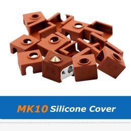 Heat Socks Canada - 5pcs Brown Color 3D Printer Parts 19*19*13mm MK10 Heater Block Silicone Sock Cover For Reprap MK10 Heating Block