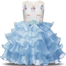 birthday t shirts for kids 2019 - Girl Fairy Unicorn Dress Junior Birthday Clothes Infantil Vestidos Kids Dresses For Wedding Ceremony Summer 2018 Party C