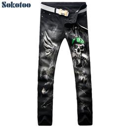 6462bb2f5f Sokotoo Herrenmode schwarz Schädel Schlange Schwert 3D-Druck Jeans Lässige  farbige Muster Stretch-Denim-Hosen