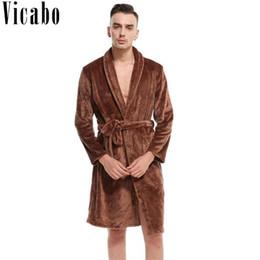 771ff76834 Vicabo Mens Autumn Winter Warm Long Bathrobe Soft Flannel Kimono Yukata  Bath Robe Male Dressing Gown Couples Thick Sleepwear