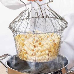 Новые Приходят Складная Паровая Промыть Штамм Фрай Шеф-Повар Корзина Фильтр Чистая Кухня Кулинария Инструмент