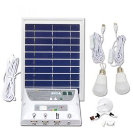 Discount solar panels home system - Solar Panel Lighting Kit Solar Home DC System Kit USB Solar Charger with 2 LED Light Bulbs Emergency Light USB Port with