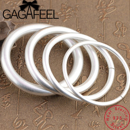 Chinese  GAGAFEEL 100% Genuine 990 Sterling Silver Bangles Solid Bracelet for Men Women Couple's Jewelries 4mm-10mm manufacturers