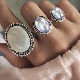Punk Rings NZ - RAVIMOUR 3pcs Set Punk Finger Rings for Women Female Vintage Opal Resin Wedding Knuckle Ring Set Fashion Jewelry Accessories