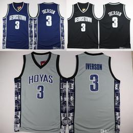 8775256f9 Georgetown Hoyas College 3 Allen Iverson Jersey University Tean Black Blue  Gray Allen Iverson Basketball Jerseys Shirt Uniform