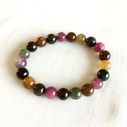 multi tourmaline Canada - Brazil Natural Genuine Colorful Purple Green Pink Blue Tourmaline Multi-color Bracelet Round beads 9mm 05179