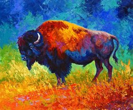 $enCountryForm.capitalKeyWord NZ - Giclee master of his world color study oil painting arts and canvas wall decoration art Oil Painting on Canvas longhorn steer MRR030