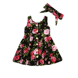 wholesale girls christmas dress UK - Toddler Infant Kids Baby Girls Summer Floral print Dress Princess Birthday Party Sleeveless Dresses Headband 2pcs 0-4Y