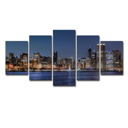 city canvas prints Australia - Canvas Wall Art Pictures HD Prints Living Room Decor 5 Pieces Chicago River Cityscape Paintings Framework City Nightscape Poster