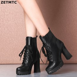 $enCountryForm.capitalKeyWord NZ - ZETMTC Plus Size Ankle Boots For Women Platform High Heels Female Lace Up Shoes Woman Buckle Short Boot Casual Ladies Footwear