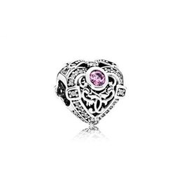Bracelet Orchids UK - Authentic 925 Silver Beads Opulent Heart Charms, Orchid & Clear CZ Fits European Style Jewelry Bracelets