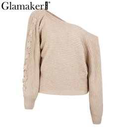 9d17a05e1a Glamaker Winter autumn lace up knitted sweater women Sexy batwing sleeve  one shoulder jumper 2017 loose causal pullover sweater