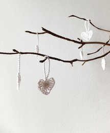 hanging decoration hearts UK - Crochet hearts decorations, white hearts wedding favors, small holiday ornaments with hanging loop of 20 ~1.2 inches