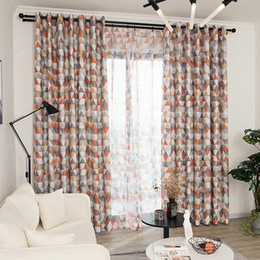 Kitchen Treatments NZ - Modern Geometric Printed Curtains for Kids Room Living Room Bedroom Window Blackout Kitchen Curtain Sheer Tulle Window Treatment