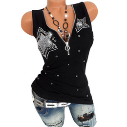 a2b67351f8f Sexy Zipper V-Neck Women Tank Top Shiny Diamond Sleeveless Tee Shirts Plus  Size Solid Color Vest Camisole Summer Female Clothing