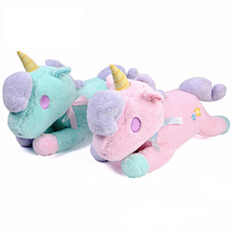 stuffed unicorn dolls 2020 - Kids Toy Gift Unicorn Plush Toy Cute Animal Tissue Cover Box Soft Stuffed Plush Dolls KidsToy Kawaii Figure Fluffy Gift