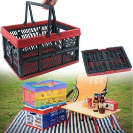 Outdoor Camping Folding Storage Basket Collapsible Trunk Organizer Container Plastic Waterproof Compression Packing Picnic OOA4350