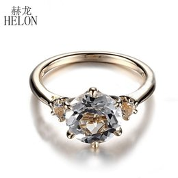 c592765f629 HELON Hot Round Solid 10K Yellow Gold Prong Setting 8mm   3mm Flawless  White Topaz Ring Wedding Anniversary Fine Jewelry Ring