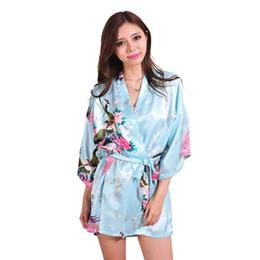 0ad324a85c New Light Blue Women Bathrobes Japanese Yukata Kimono Satin Silk Vintage Robe  Sleepwear Plus Size S-XXXL 14 Colors Nightgowns