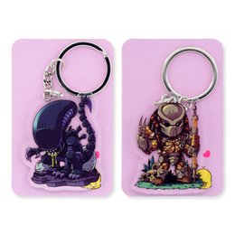 double rings chains UK - Alien and Predador Double Sided Clear Keychain AVP Key Chain Hot Sale Custom made Anime Key Ring PCB176-177
