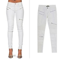 Discount decorated pencils - 2018 Jeans Woman Zip Decorated Pu Pants Stretch 2XL Slim White Pencil Jean Female Autumn Long Pleated Pants Moto Biker S