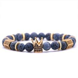 HONEYYIYI Homens jóias Micro Pave CZ Zirconia Rei Coroa Charm Bracelet Pulseiras De Pedra Natural Talão de Natal presentes venda por atacado