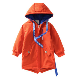 jacket hat baby 2019 - 2018 Spring autumn Boys Ribbon Hat Rope Jacket Baby letter Korean casual children's coat Kids personality windbreak