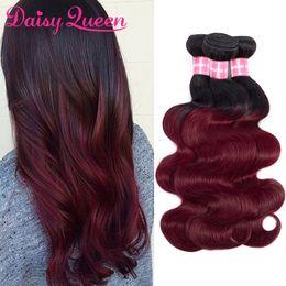 remy virgin hair red 2019 - Ombre Cheap 8A Virgin Brazilian Body Wave 3 Bundles 1B Burgundy Ombre Hair Weave Bundles 99J Red Remy Human Hair Extensi
