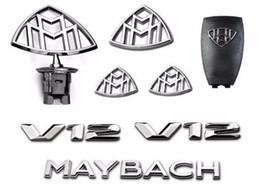 8 adet Set Mercedes Amblem-Maybach S-Sınıfı Hood Ayakta Çamurluk Arka Rozetleri V12 W222 W221 indirimde