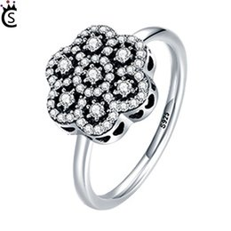 $enCountryForm.capitalKeyWord NZ - Genuine S925 Sterling Silver Heart Pave Clear CZ Flower Finger Rings for Women Luxury Sterling Silver Jewelry Gift Pandora style