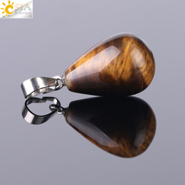 $enCountryForm.capitalKeyWord UK - CSJA Cheap Women Necklace Pendants New Arrival Water Drop Shaped Natural Stone Charms for Jewelry Making Healing Tiger Eye Agate Opal F520