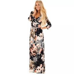 f989436d542c Vestiti fiori donna maxi online-Abito manica lunga donna New Fashion  Vintage Flower Stampa Party