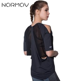 Discount dry mesh pants - NORMOV Sexy Mesh Yoga Shirt Women Fitness Clothing Summer Backless Running T-Shirts Short Sleeve Workout Tops Female Spo