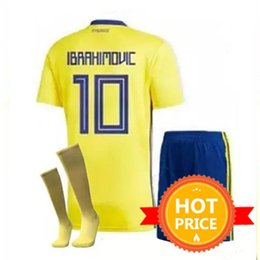 58ec8048b sweden soccer jersey 2019 - 2018 Kids Sweden Soccer Jersey Kit 2018 Youth  Boys Zlatan Ibrahimovic