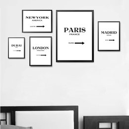 Wholesale custom printed signs for sale – custom Custom Destination Sign Wall Art Print Poster Gossip Girl Fashion Canvas Art World Cities Wall Print Poster HD2224