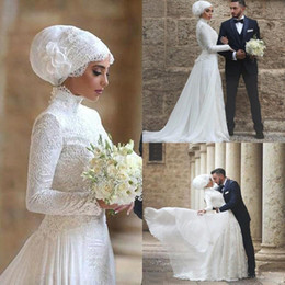 Wholesale 2018 High Neck Lace Long robe de mariage Long Sleeves Muslim Bridal Gowns Islamic Arabic Wedding Dresses