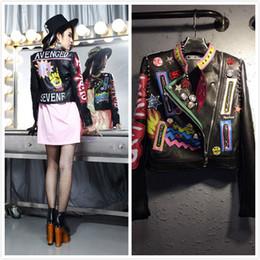 Jacket leather rock online shopping - new street punk rock fashion women PU leather letter printing graffiti pattern epaulet rivet Jackets Coat outerwear