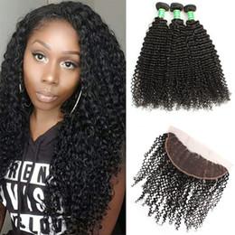 Real Peruvian Human Hair Closures Australia - 8A Peruvian Kinky Curly Hair Lace Frontal Closure With 3Bundles 100% Real Curly Virgin Human Hair Extension With 13x4 Lace Frontal Closure