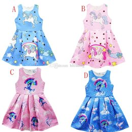 american boutique clothing Australia - Baby unicorn rainbow horse print dress 2018 summer sleeveless girls Princess dresses cartoon kids Boutique Clothing C3518