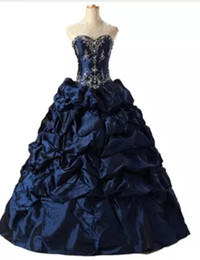 quinceanera dresses UK - In Stock 2018 Fashion Appliques Taffeta Ball Gown Quinceanera Dress with Sequines Lace-Up Sweet 16 Dress Vestido Debutante Gowns BQ136